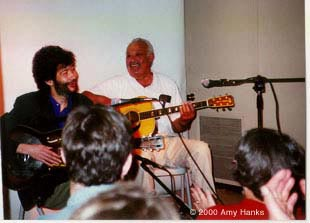 photo; Paul and his Dad playing at Clrion Music, January2000
